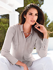 Peter Hahn - Jersey-Bluse in Hemdblusen-Stil
