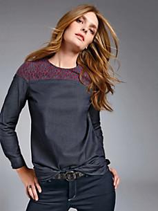 Looxent - Blusen-Shirt mit Spitzenbesatz