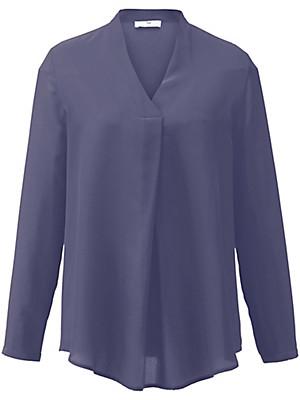 Schlupf-Bluse aus reiner Seide  blau