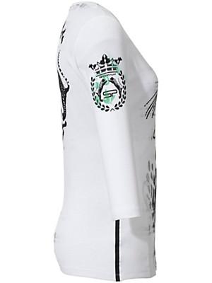 sportalm kitzb hel rundhals shirt mit leo muster wei schwarz gr n. Black Bedroom Furniture Sets. Home Design Ideas