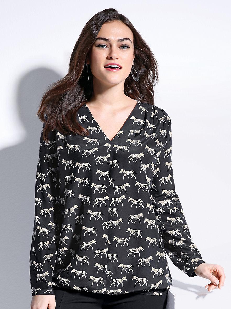 emilia lay schlupf bluse mit v ausschnitt schwarz beige. Black Bedroom Furniture Sets. Home Design Ideas