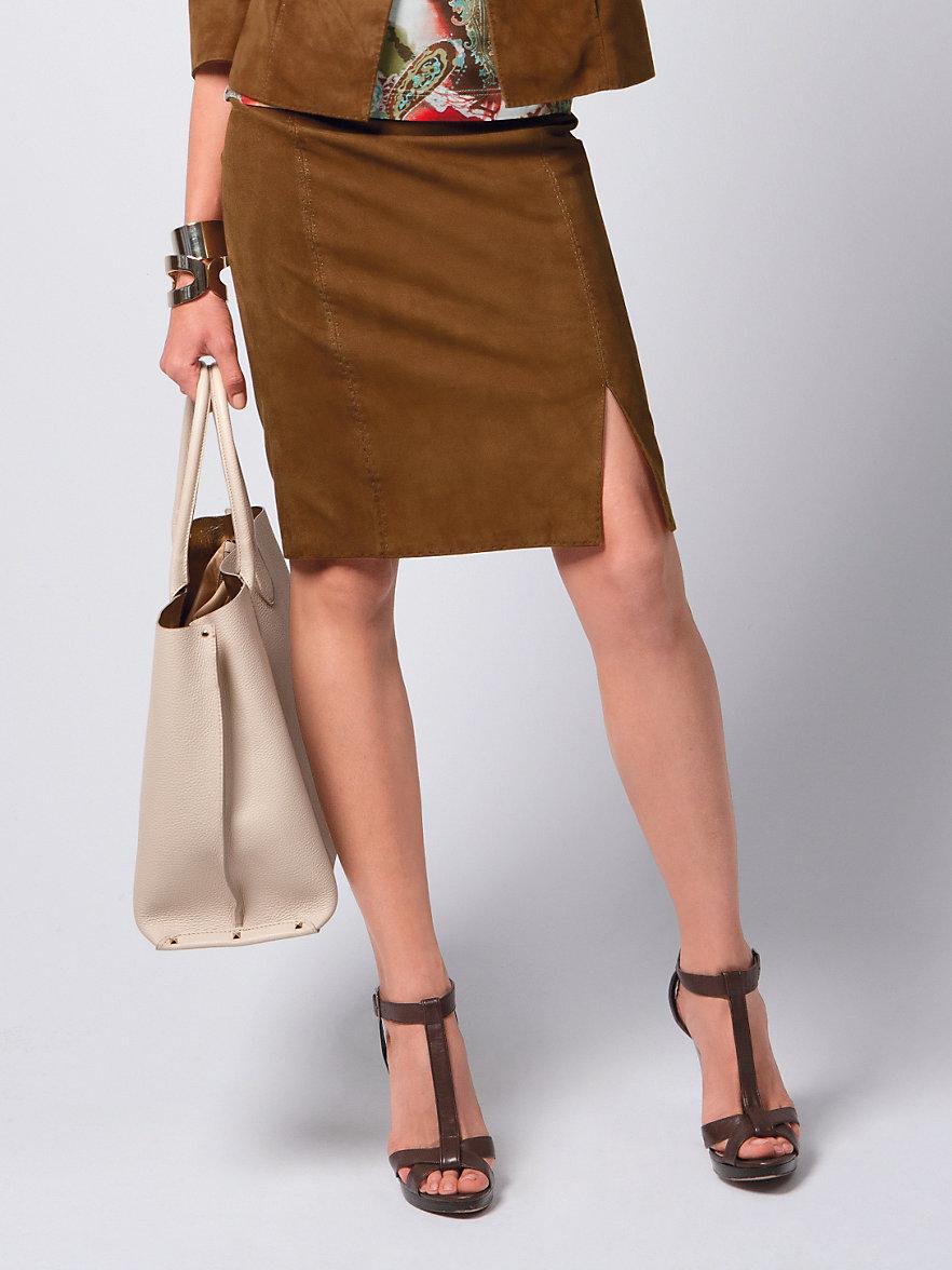 fadenmeister berlin la jupe en cuir marron clair. Black Bedroom Furniture Sets. Home Design Ideas