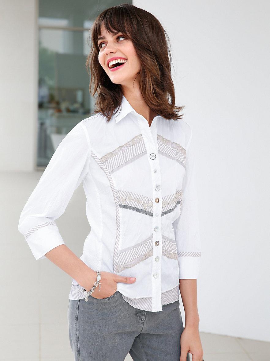 just white bluse mit 3 4 arm wei beige. Black Bedroom Furniture Sets. Home Design Ideas