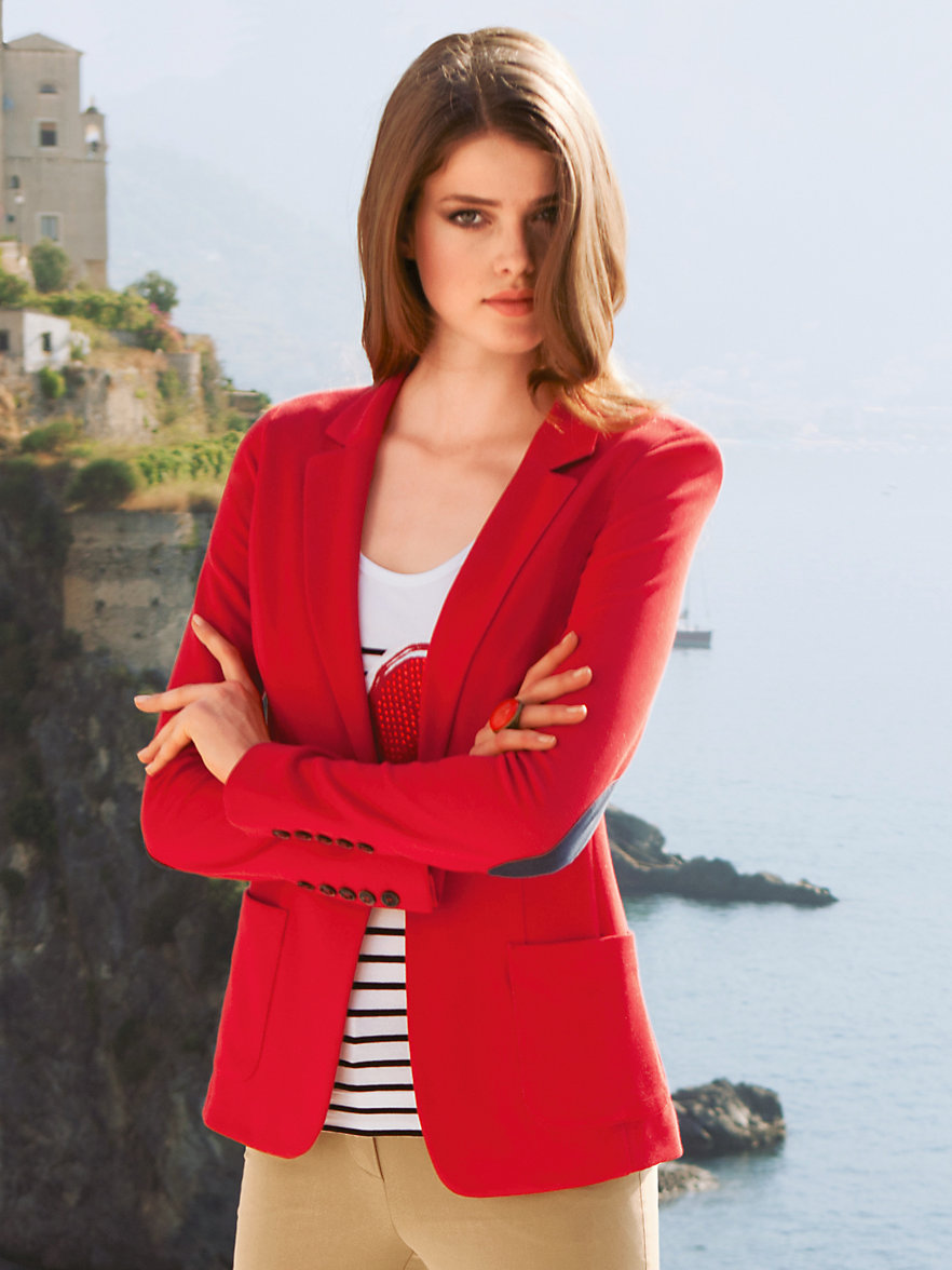 laur l sportlich eleganter jersey blazer rot. Black Bedroom Furniture Sets. Home Design Ideas
