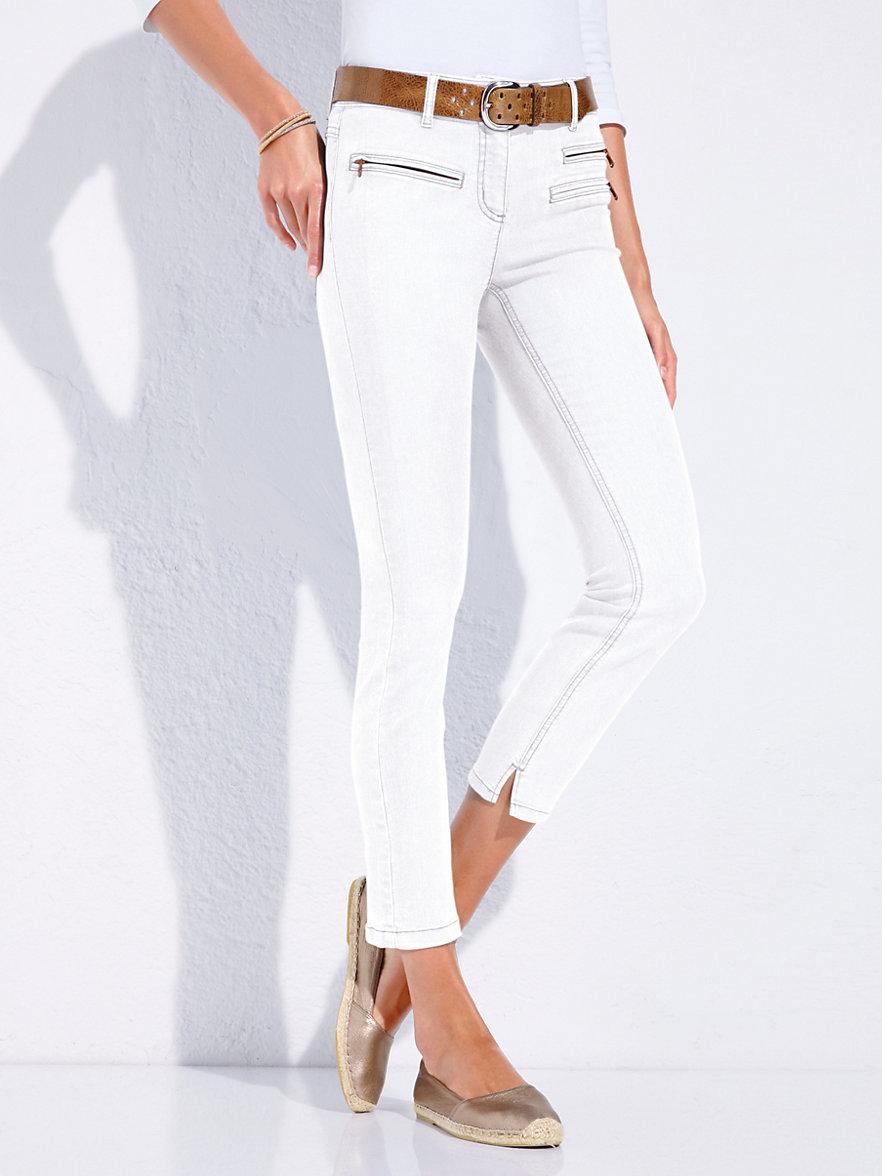 looxent 7 8 jeans mit elastischem formbund wei denim. Black Bedroom Furniture Sets. Home Design Ideas