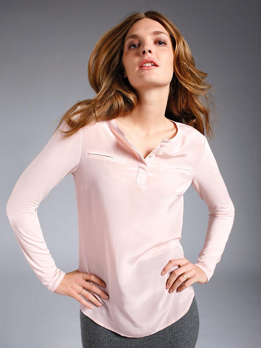 looxent shirt bluse mit rundhals ausschnitt ros. Black Bedroom Furniture Sets. Home Design Ideas
