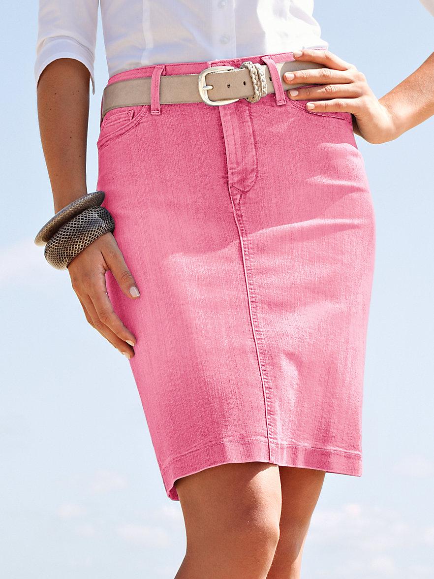 nydj denim skirt pale pink