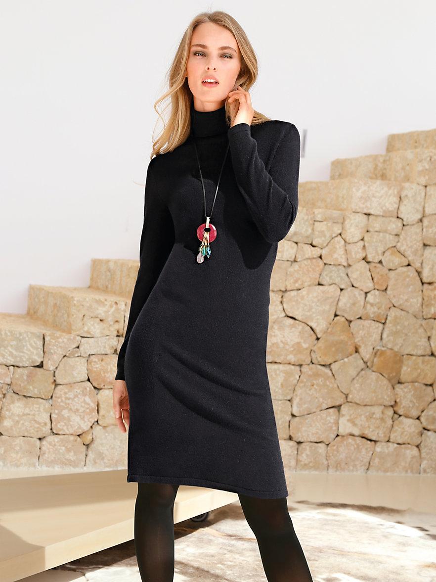 peter hahn cashmere strickkleid mit rollkragen aus reinem kaschmir schwarz. Black Bedroom Furniture Sets. Home Design Ideas