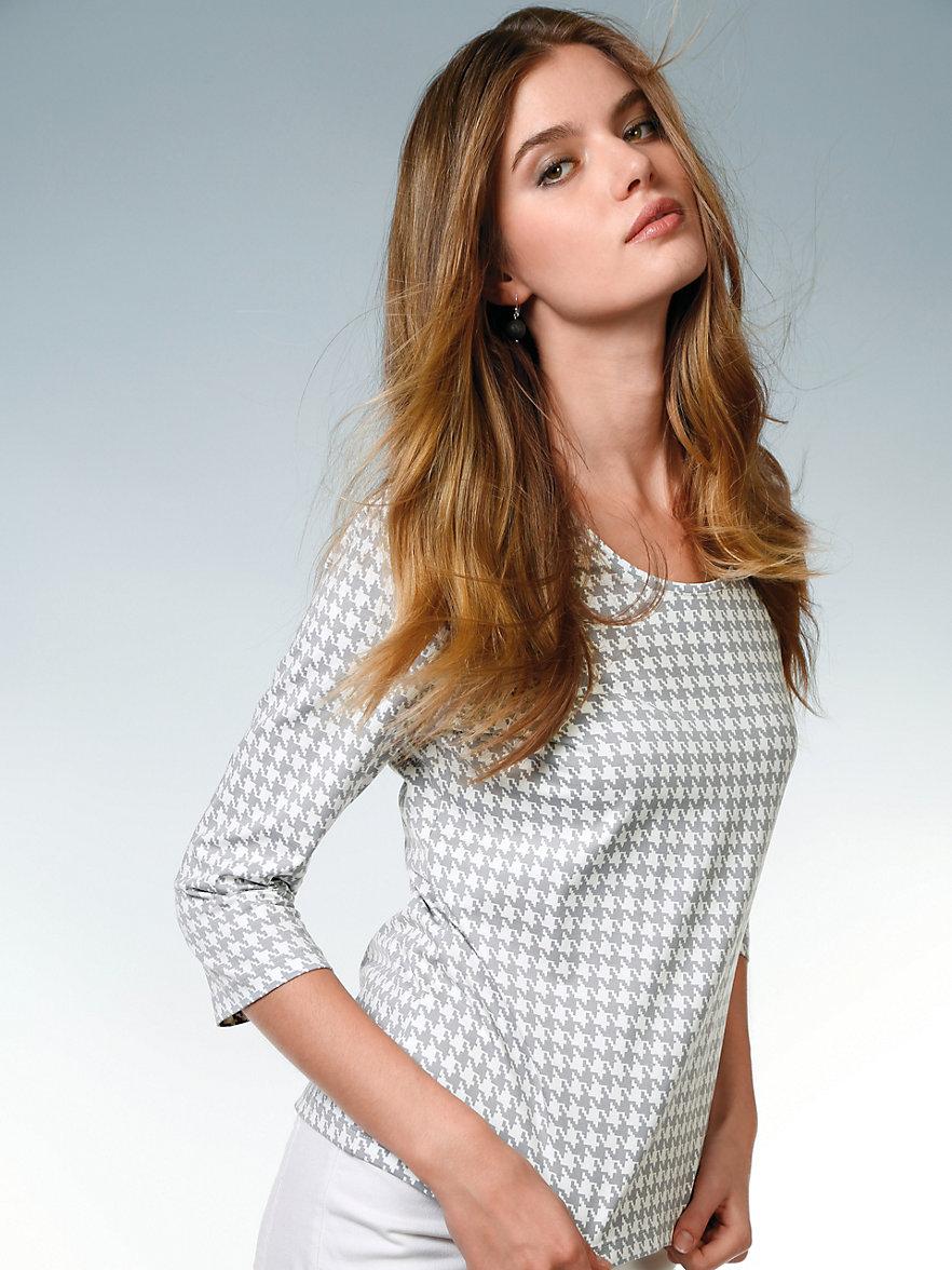 peter hahn rundhals shirt mit 3 4 arm grau wei. Black Bedroom Furniture Sets. Home Design Ideas