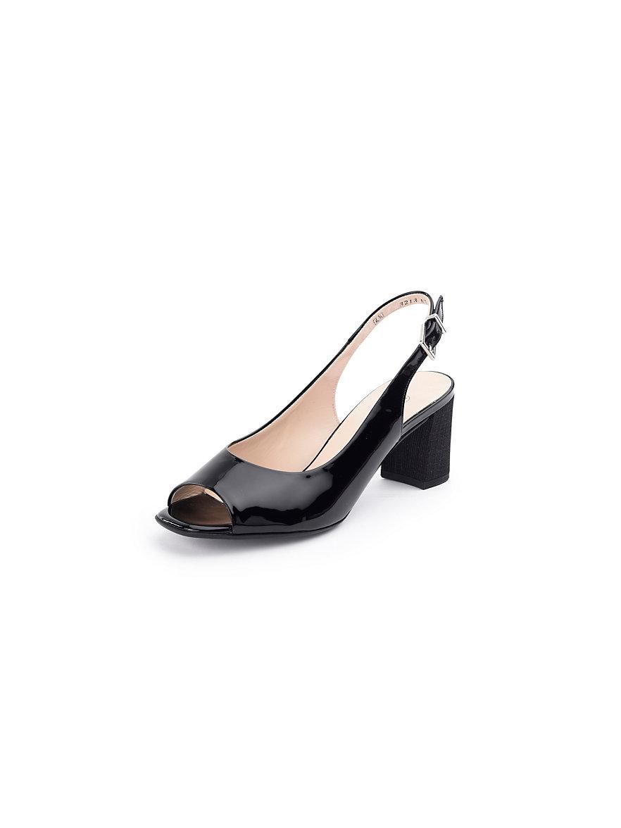 peter kaiser sandalette aus softem kalbslackleder schwarz. Black Bedroom Furniture Sets. Home Design Ideas