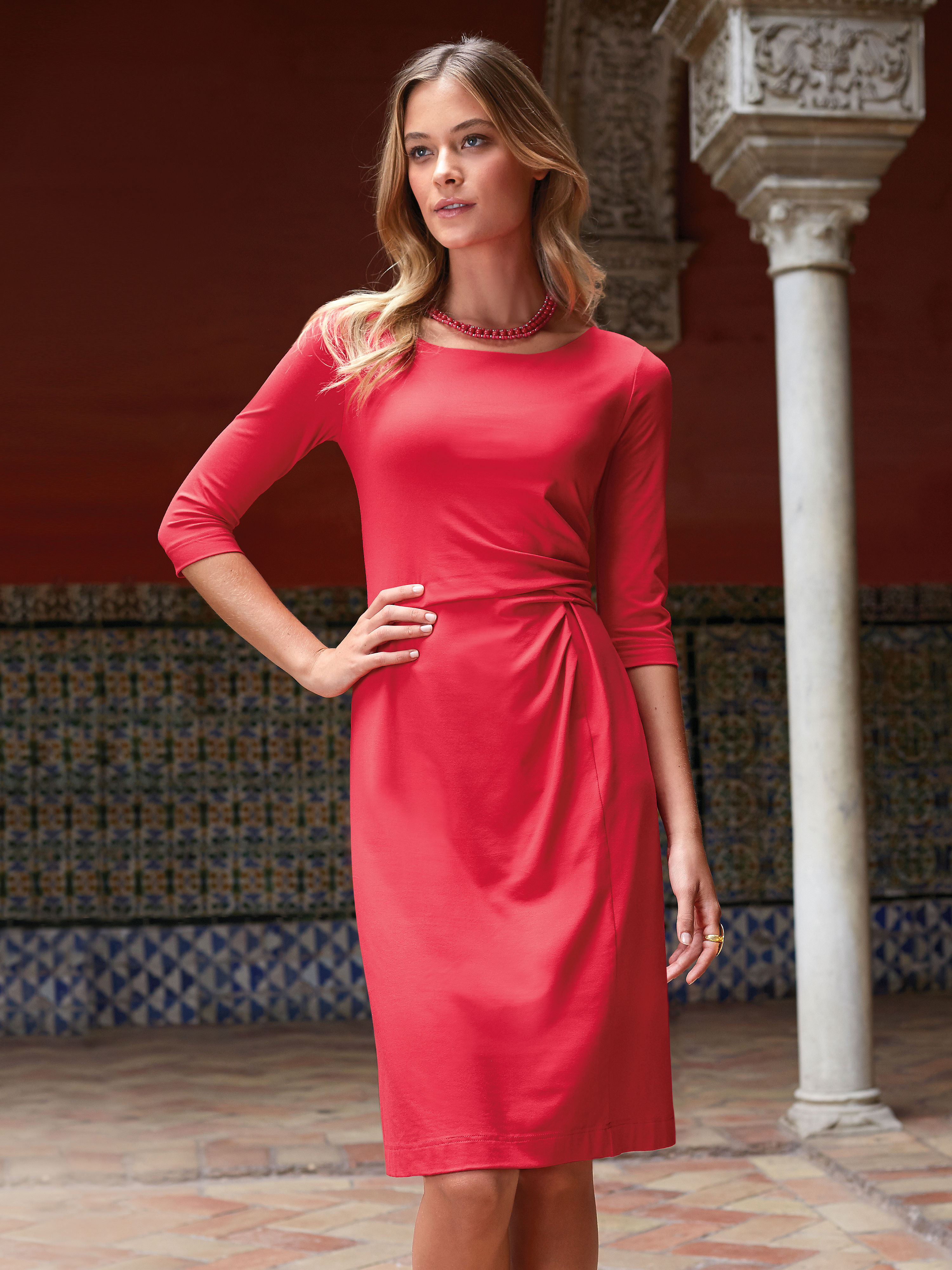 b73282efd16 Jersey dress with 3 4-length sleeves Uta Raasch red size  10