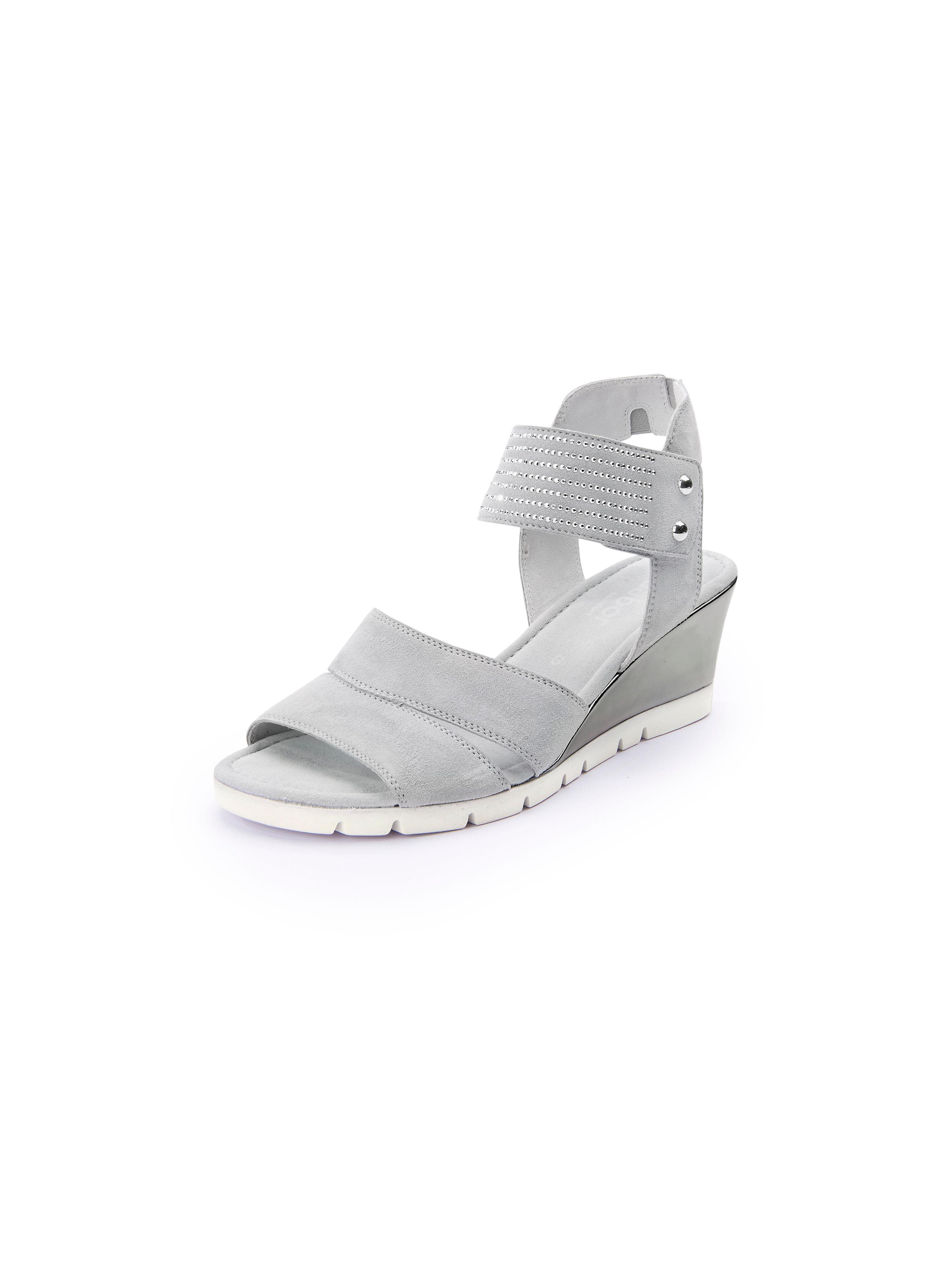 Sandale feinem Nietenbesatz und Keilabsatz Gabor grau Größe: 35