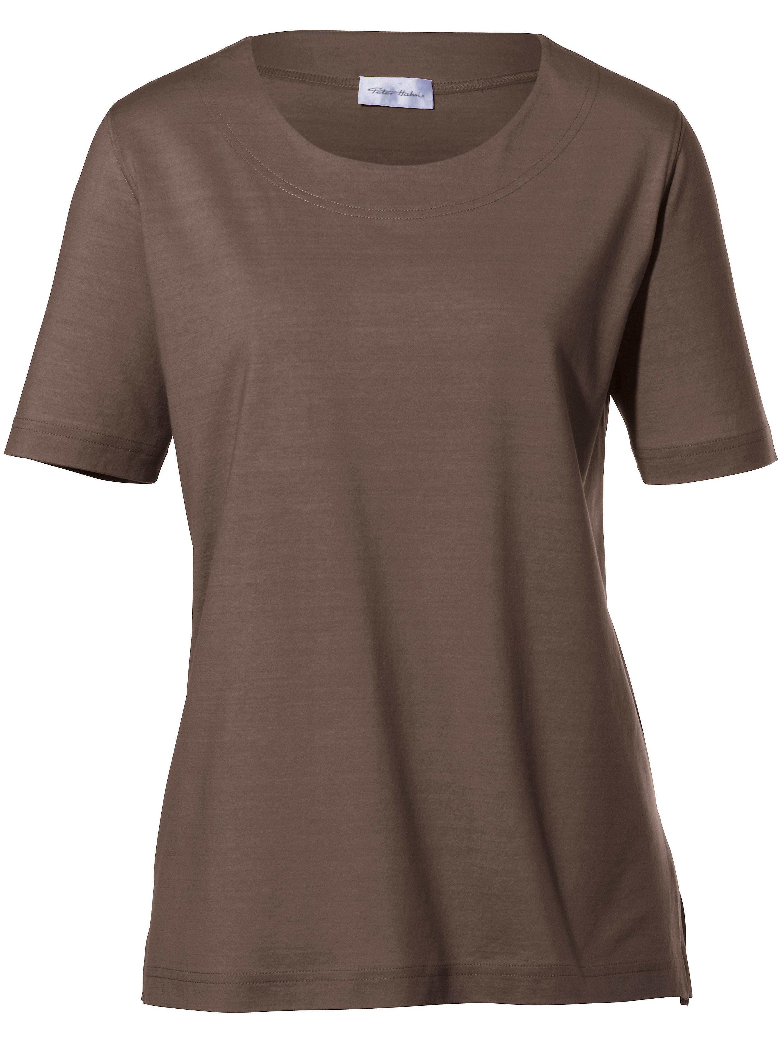 lang geschnittenes rundhals shirt peter hahn braun g nstig schnell einkaufen. Black Bedroom Furniture Sets. Home Design Ideas