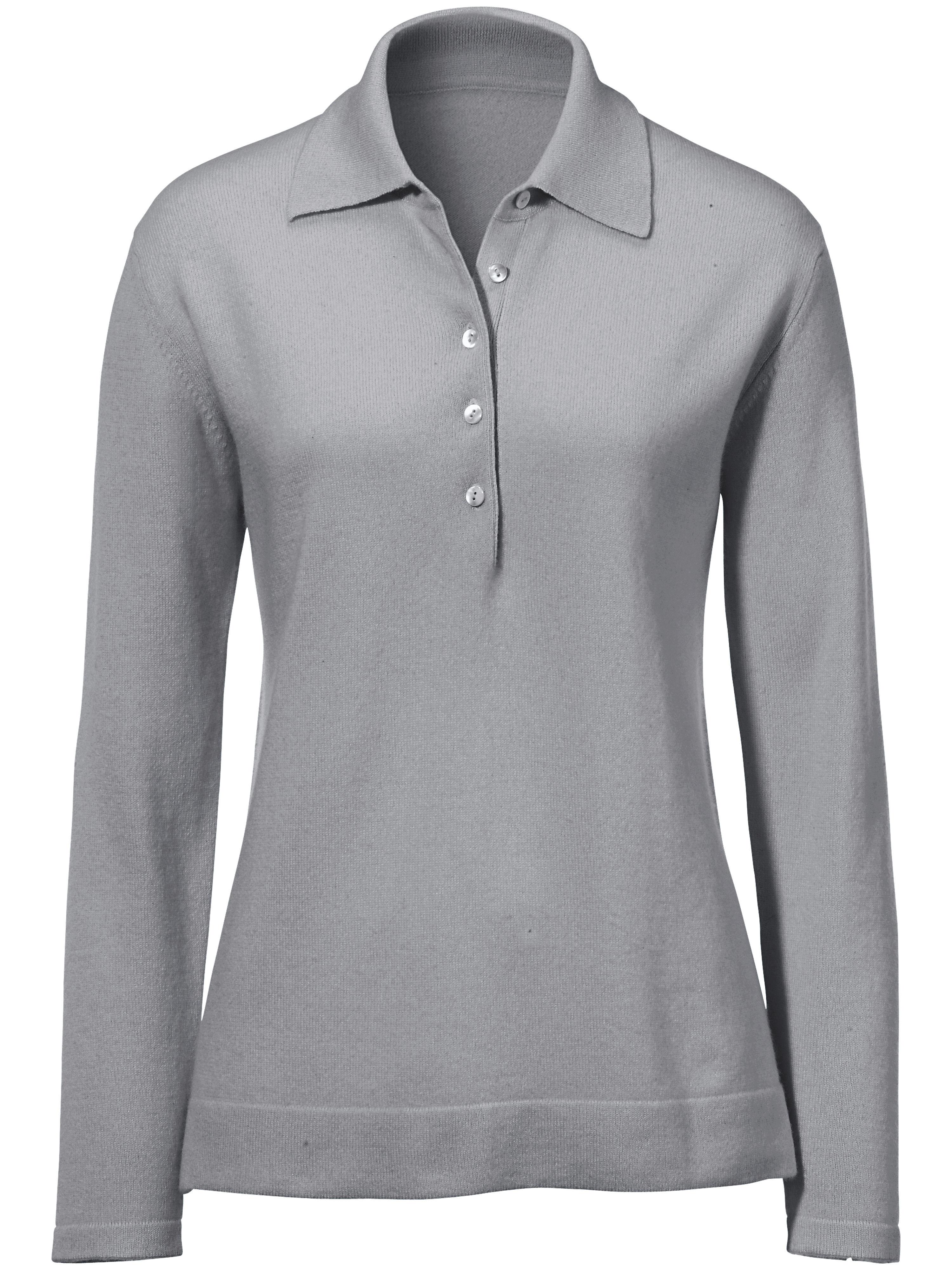 polo pullover aus reinem kaschmir modell paula peter hahn cashmere grau g nstig schnell. Black Bedroom Furniture Sets. Home Design Ideas